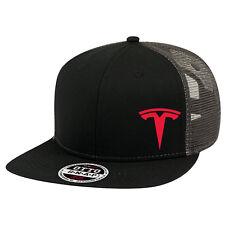 TESLA Car Logo Trucker Hat Mesh Flat bill Baseball Snapback Flexfit Cap NEW Box