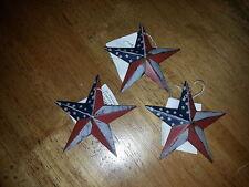 """3 Primitive Americana 3.5"""" Barn Stars - Red, White, Blue, Ornaments, Rustic"""