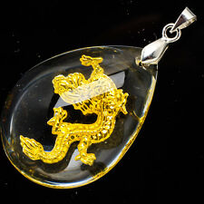 24K Yellow Gold .999 Teardrop 12 Chinese Zodiac Dragon Crystal Pendant 1 1/2""