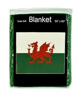 Wales Flag Fleece Blanket *NEW* Welsh Travel Throw Cover Red Dragon Passant