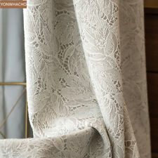 Japanese pastoral living room beige lace cloth blackout curtain tulle panel C028