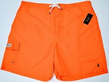 NWT $75 Polo Ralph Lauren Orange Swim Mens 2XB 3XB Big Cargo Board Shorts NEW