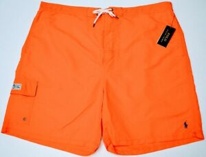 NWT $75 Polo Ralph Lauren Orange Swim Mens 2XB 3XB Big Cargo Board Shorts NEW