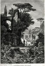 Tivoli: nella Villa Adriana. Tibur. Roma. Stampa Antica + Passepartout. 1868