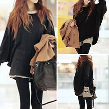 Women Sexy Round Neck Oversized Jumper Blouse Casual Loose Baggy Top Pullover