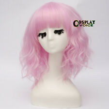 Lolita Medium Lockig Women Cosplay Harajuku Party 35CM Light Pink Wig With Bangs