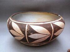 Historic Era Rare ACOMA Pottery Serving Bowl w/ Squash Blossom Design - Unsigned