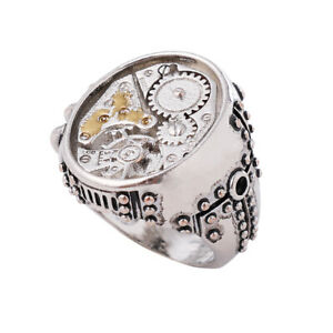 Steampunk Men's Gear Ring Costume Alloy Ring Size 6-12