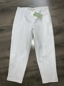 NEW Eileen Fisher Organic Cotton Twill Ankle Pants White (tiny Temp Flaw/Read) M