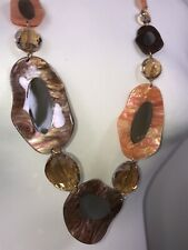 Sparkly Statement Necklace Crystals Resin Luxurious Quality Gold Tone Long NEW