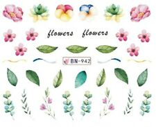 Nail Art Decals Transfers Stickers Pink Flowers Leaves (BN942)