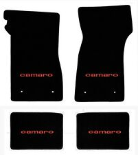 NEW! 1967-1969 Camaro Floor Mats Black Carpet Embroidered Script in Red on all 4