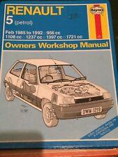Haynes Manual 1219 .Renault 5 .Feb 1985 to 1992 . 956 1108 1397 1721 cc ..