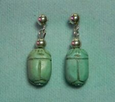 Hand-Carved Turquoise Scarab/Sterling Silver Post Earrings