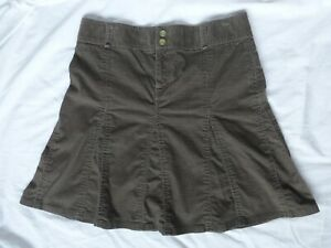 Athleta Whenever Womens Corduroy Skirt Olive Green A line Flared Size 6