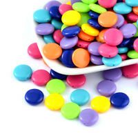 50pcs Random Opaque Acrylic Coin Beads Smooth Round Candy Loose Spacers 14x5mm