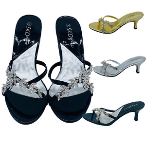 Ladies Wedding sandals Womens Bridal Diamante Kitten Heel Party Slip On Shoes UK