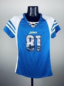 Women's Majestic Detroit Lions Calvin Johnson Blue Draft Him IV Tee Shirt NWT XL