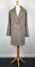 Pull And Bear Womens Double Breasted Coat Brown Dogtooth Pattern Size S BNWT