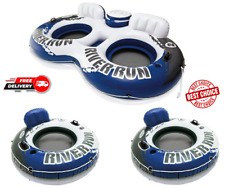 River Run II Inflatable 2 Person Pool Tube Float + 2 Single Water Rafts