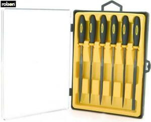Rolson Needle File Set With Rubber Cushion Grip 140Mm Set Of 6 Diy Hand Tool New