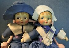 Antique Cloth/Rag Dolls John and Priscilla By The Blossom Doll Co.