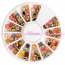 4MM Mixed Colors Gemstone Glitters Alloy Pearls Nail Art Gold Decorating Wheel