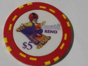 HARRAH'S HOTEL CASINO $5 hotel casino poker gaming chip ~ Reno, NV