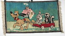 Vintage Pluto Rug - Pluto Pulls Thumper and Flower in Wagon - Walt Disney 41x21