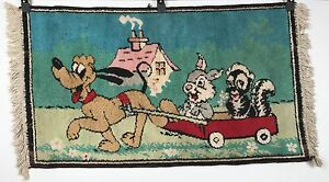 Vintage Pluto Rug - Pluto Pulls Thumper and Flower in Wagon - Walt Disney 41x21
