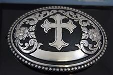 Nocona OVAL Silver and Black Tone Cross Belt Buckle 37670 M & F Western