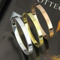 Herren Unisex Goldsilber überzogene Armband-Armband Edelstahl poliertArmban Y7M8