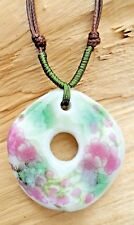 Ceramic Flower Disc Pendant Green/Pink/White & Adjustable Knotted Cotton Cord