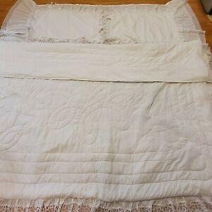 Battenberg Set White Bed Comforter With Lace & Pillow Shams King Size + Bedskirt
