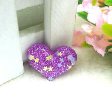 CUORE VIOLA Sparkly Glitter Stelle Kitsch Pin Badge 30 mm