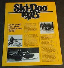 Vintage 1978 Ski-Doo Snowmobile Sales Brochure 4 Pages (817)