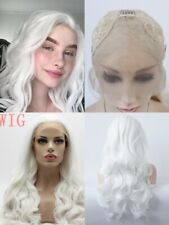 """US 24"""" Synthetic Hair White Cosplay Lace Front Wig Long Wavy Curly Party Women"""
