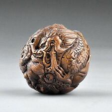"1940's Japanese handmade Boxwood Netsuke""12 zodiac animal ball""Figurine Carving"