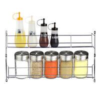 2 Tier Kitchen Spice Rack Cabinet Shelf Organizer Storage Wall Mount Holder  !