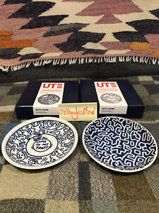 Uniqlo x Keith Haring - Pair of 12cm Porcelain Plates ; Hasami-made (Japan)