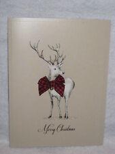 Burgoyne Handmade - Reindeer with Plaid Bow - Christmas Greeting Card - NEW