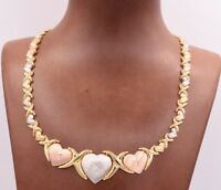 Graduated Hearts & Kisses Chain Necklace 14K Yellow White Rose Gold Clad Silver