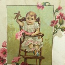 Sharpless Brothers 1883 Trade Card Baby High Chair Dry Goods Millinery Boot Shoe