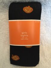 New Girls Small Med Halloween Sweater Tights Black Orange Jack O Lantern