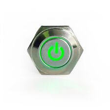 16mm 12V Green Led Lighted Push Button Metal ON-OFF Switch For Car Boat Motor HS