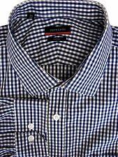 PIERRE CARDIN Shirt Mens 17.5 XL Blue & White Check
