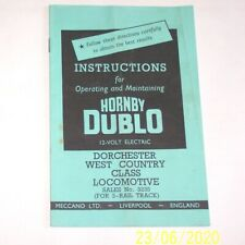 ORIGINAL 3 RAIL HORNBY DUBLO INSTRUCTIONS 3235 'DORCHESTER' WEST COUNTRY LOCO.