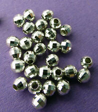 4.0mm 925 Sterling Silver Mirror Ball faceted Round Spacer Beads 10pcs.