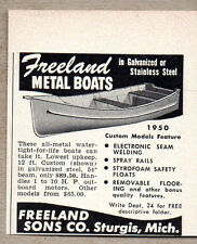 1950 Vintage Ad Freeland Metal Boats Galvanized or Stainless Sturgis,MI
