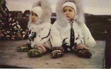 Eskimo Twins ~ Alaska AK ~ Child Children Inuit Indigenous Parkas Postcard